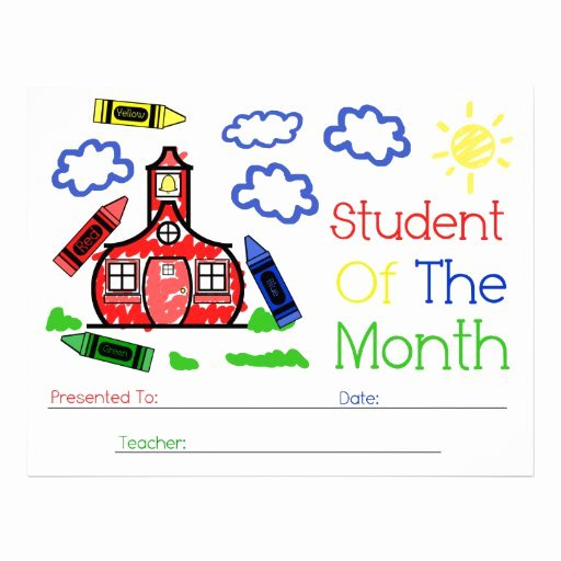 Student Of the Month Certificate Template Inspirational Student Of the Month Award Schoolhouse & Crayons