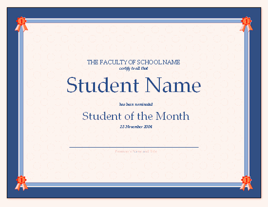 Student Of the Month Certificate Template Lovely Certificate for Student the Month Free Certificate