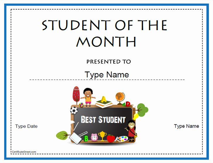 Student Of the Month Certificate Template Luxury Certificate Street Free Award Certificate Templates No