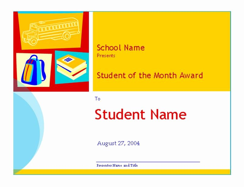 Student Of the Month Certificate Templates Free Lovely Student Of the Month Template