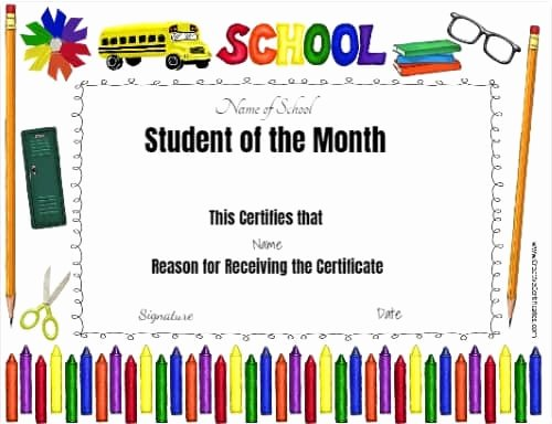 Student Of the Month Certificate Templates Free New Free Editable Printable Student Of the Month Certificate