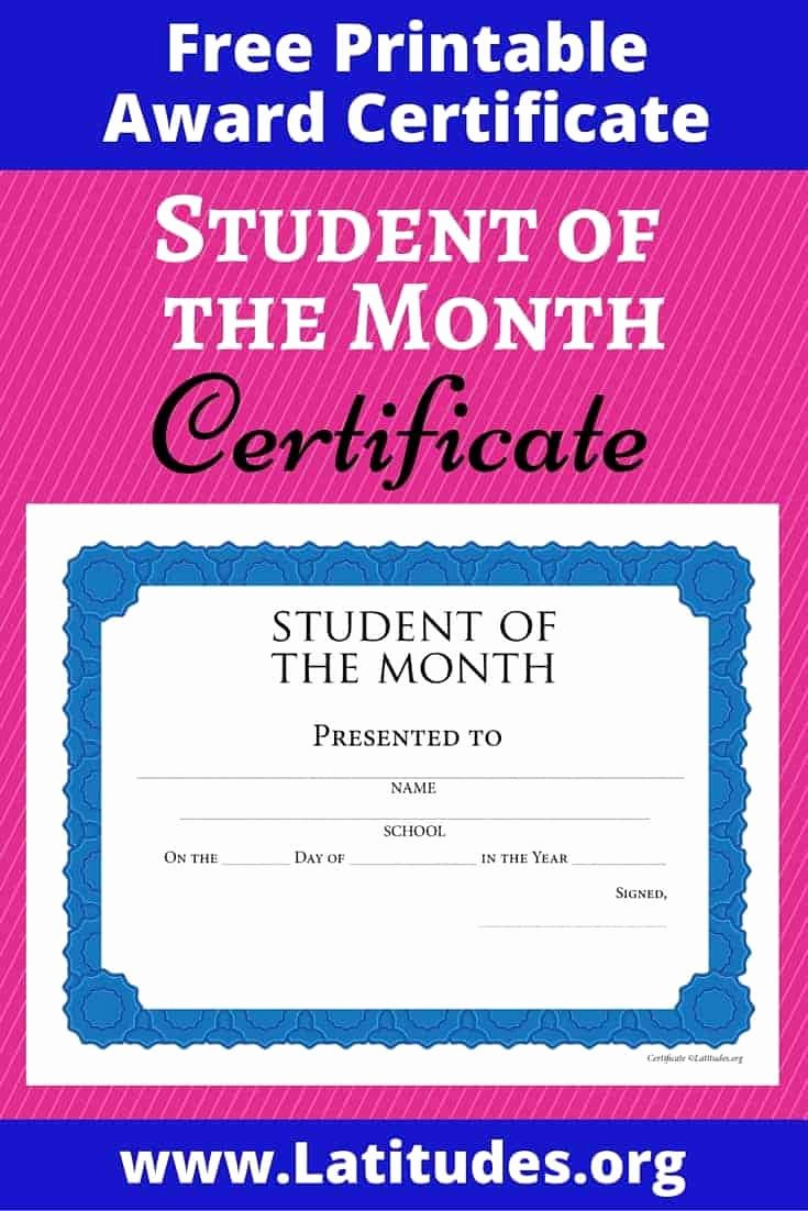 Student Of the Month Certificate Word Awesome Free Student Of the Month Achievement Certificate