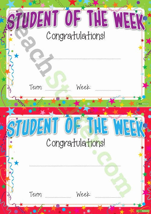 Student Of the Month Certificate Word Best Of Student Of the Week Certificate