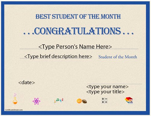 Student Of the Month Certificate Word Fresh Education Certificates Best Student Of the Month