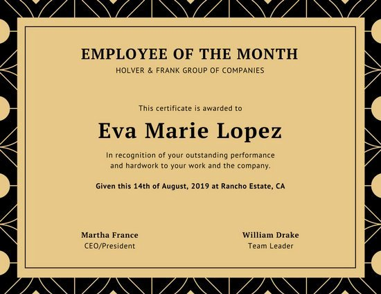 Student Of the Month Certificate Word Inspirational Black and Beige Geometric Employee Of the Month