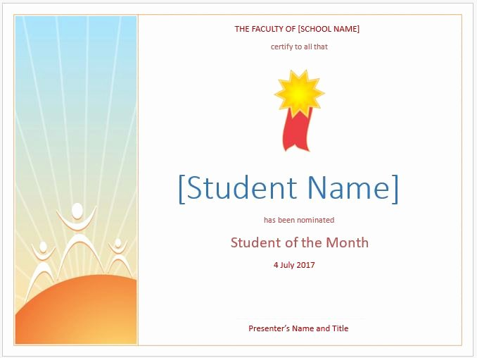 Student Of the Month Certificate Word Unique Preschool Calendar Templates for Ms Word & Excel