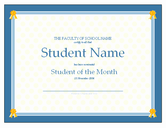 Student Of the Month Certificates Awesome Certificate for Student the Month Free Certificate