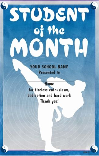 Student Of the Month Certificates Elegant Martial Arts Student Of the Month Certificate
