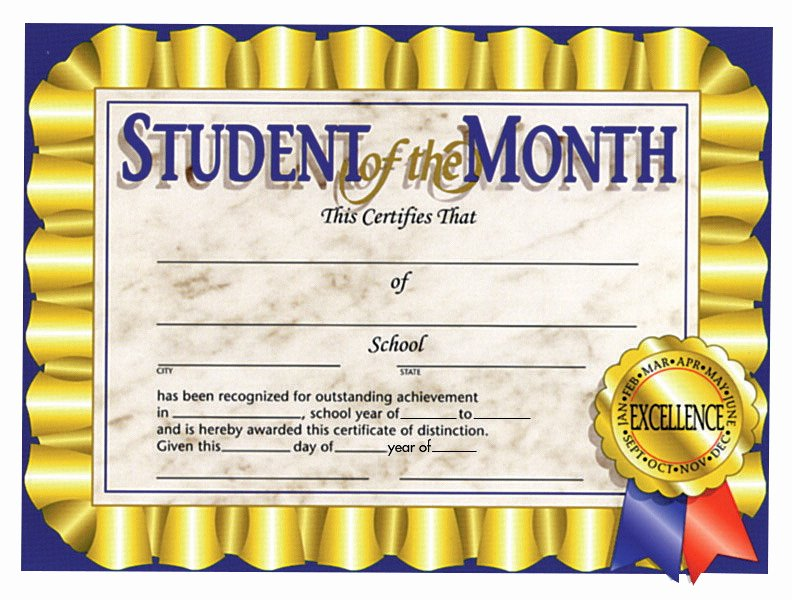 Student Of the Month Certificates Free Fresh Certificate School Specialty Marketplace
