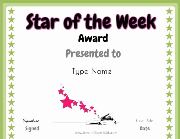 Student Of the Month Certificates Free Fresh Star Of the Week Free Printable for Teachers