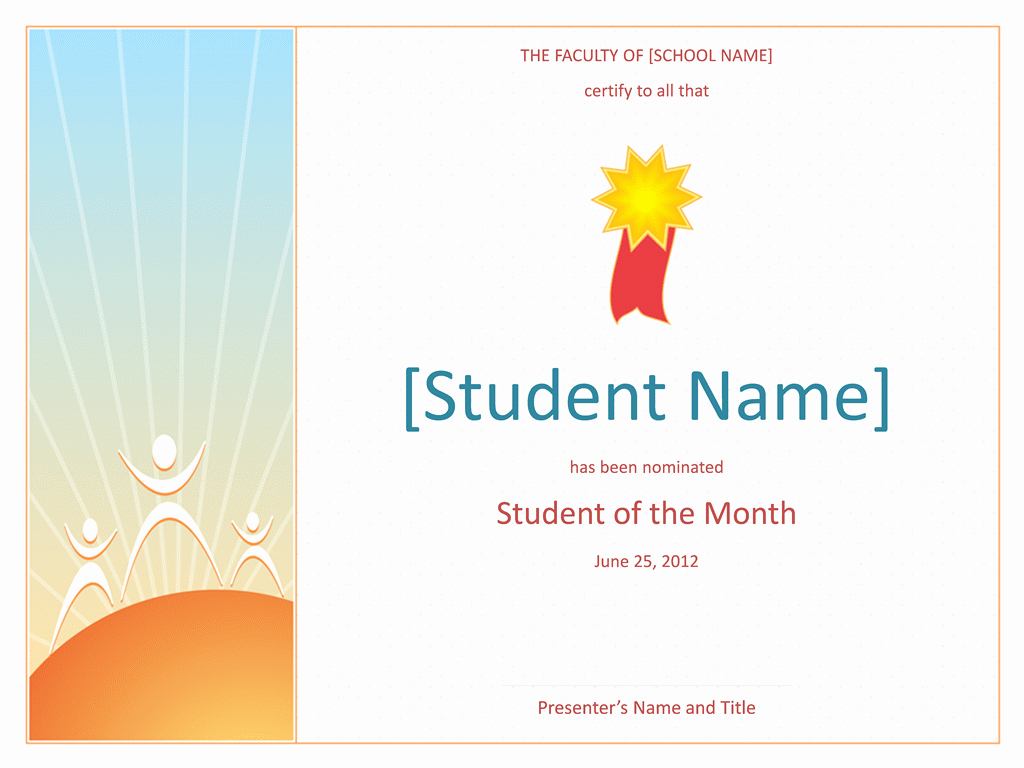 Student Of the Month Certificates Free Lovely Student the Month Award Elementary Free Certificate