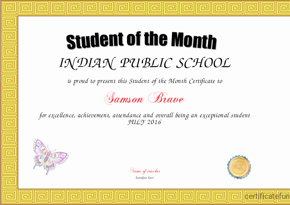 Student Of the Month Certificates Free New Student Of the Month Certificate