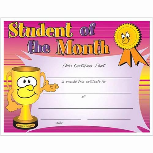 Student Of the Month Certificates Free Unique Student Of the Month Certificate 8 1 2 X 11 Student Of