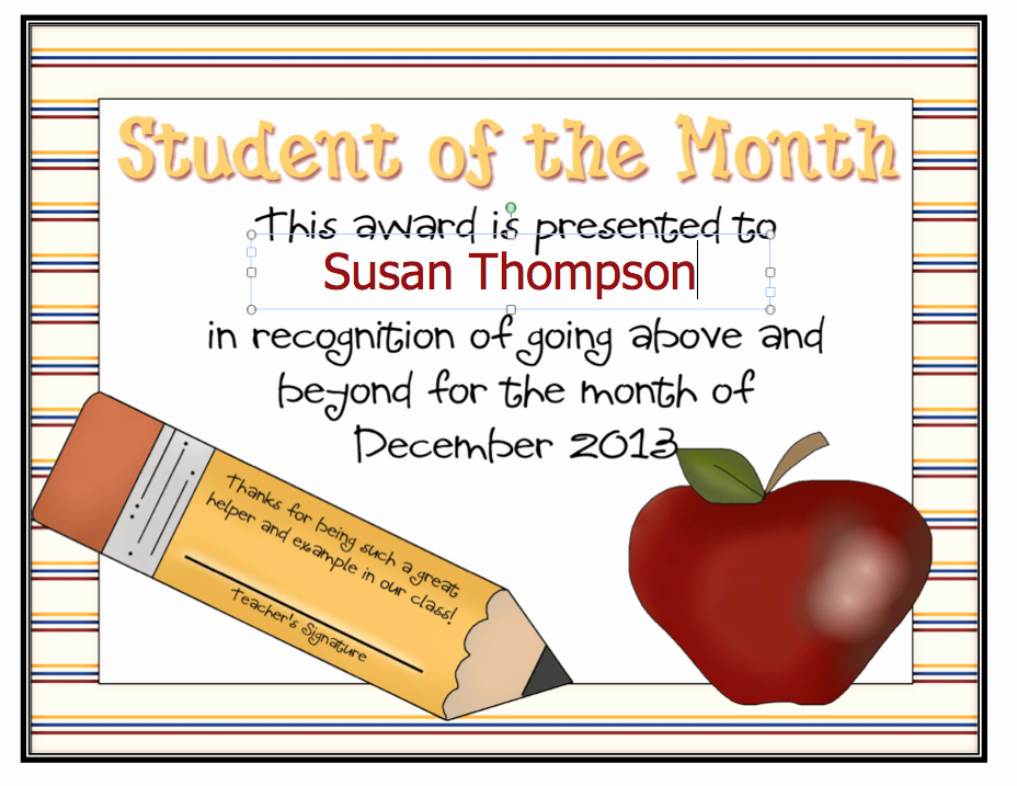 Student Of the Month Certificates Lovely Dayley Supplements Editable Student Of the Month