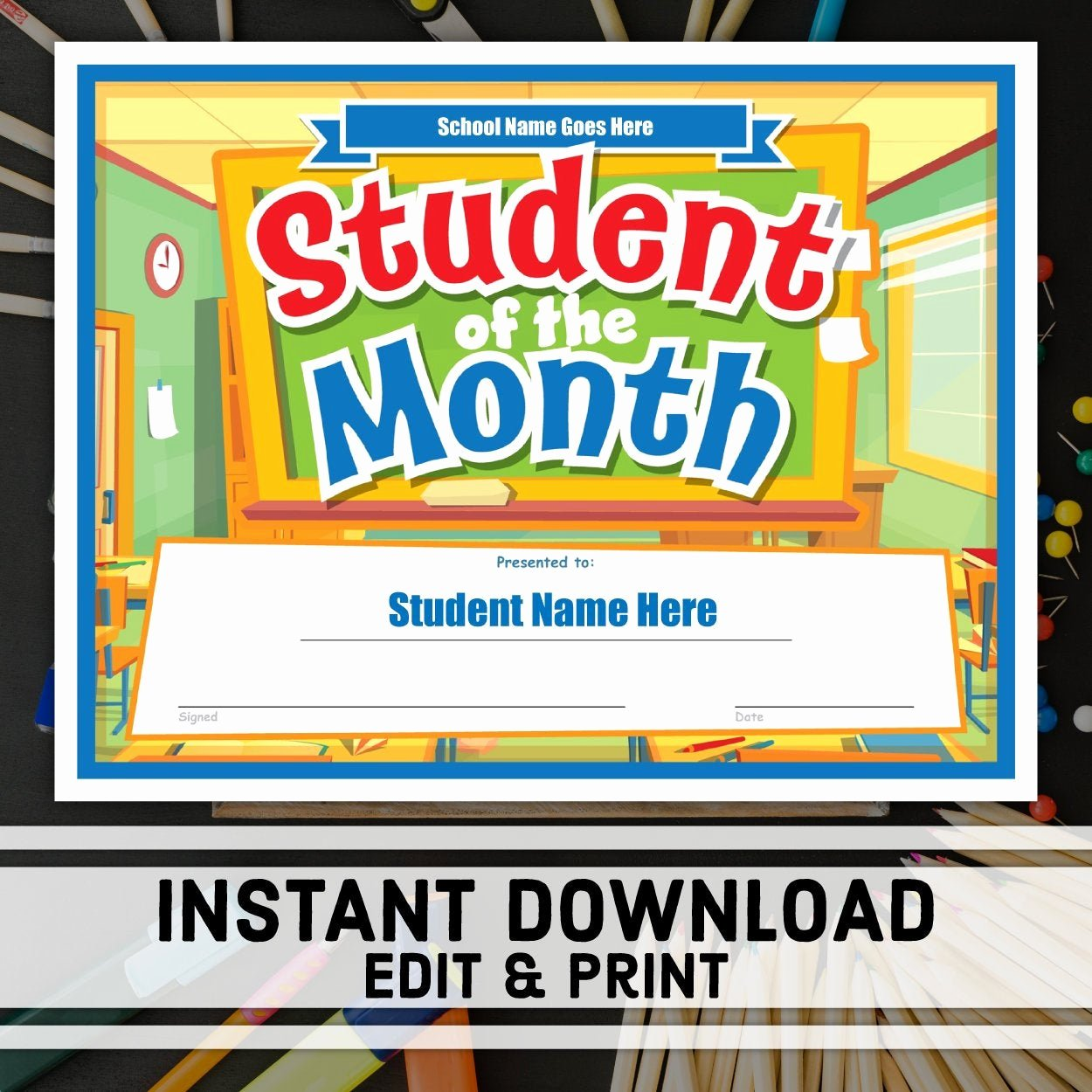 Student Of the Month Certificates Luxury Student Of the Month Certificate Instant Download