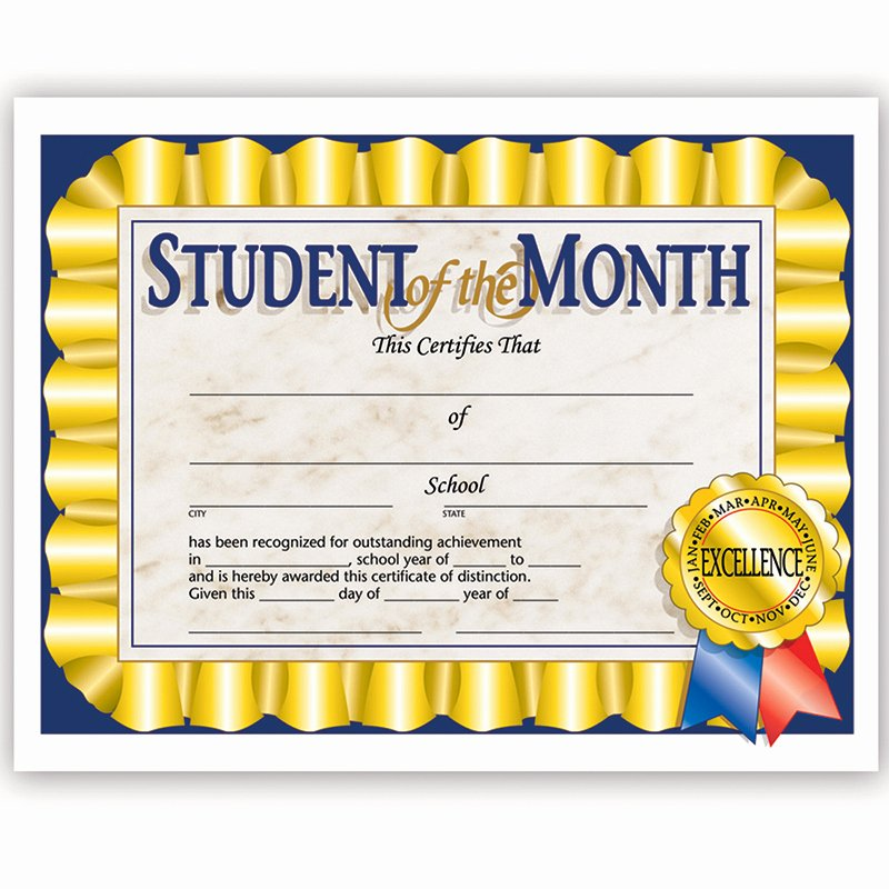 student of the month 30 pk 8 5 x 11 certificates