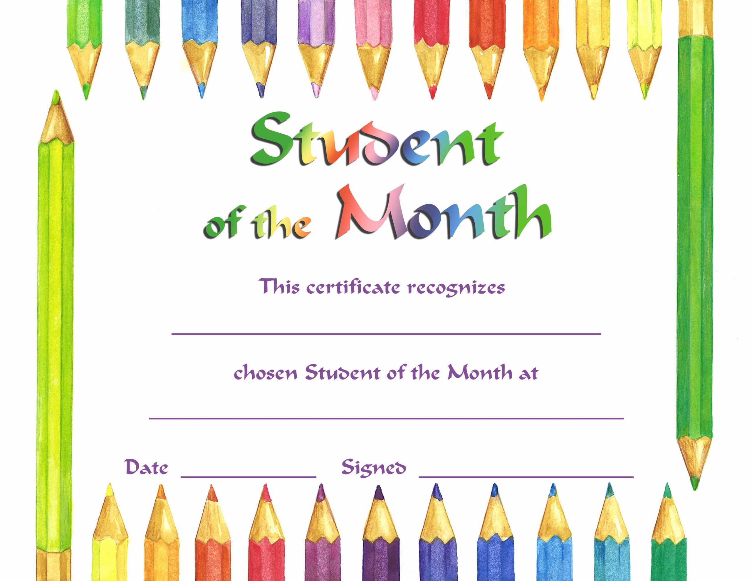 Student Of the Month Certificates New Student the Month