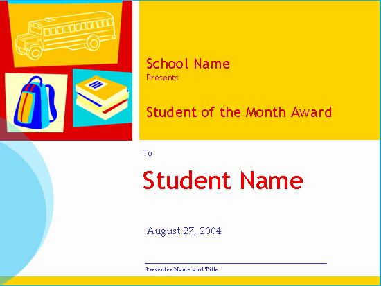 Student Of the Month Template Awesome Student the Month Award High School Free