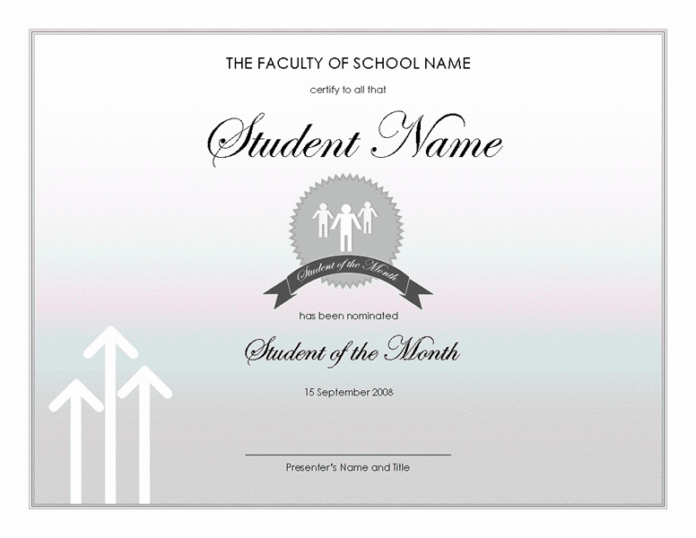 Student Of the Month Template Elegant Student the Month Award Free Certificate Templates In