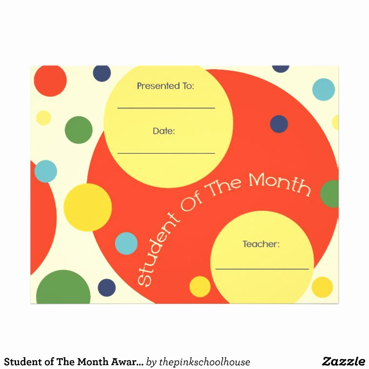 Student Of the Month Template Inspirational Student Of the Month Award Certificate Letterhead Template