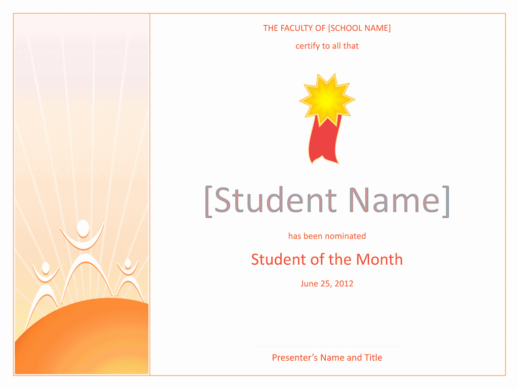 Student Of the Month Template Inspirational Student the Month Award Elementary Free Certificate