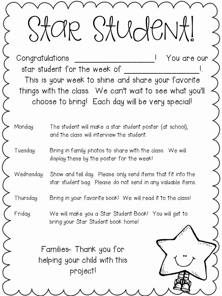 Student Of the Month Template Lovely Star Of the Week Letter to Parents Kindergarten Google