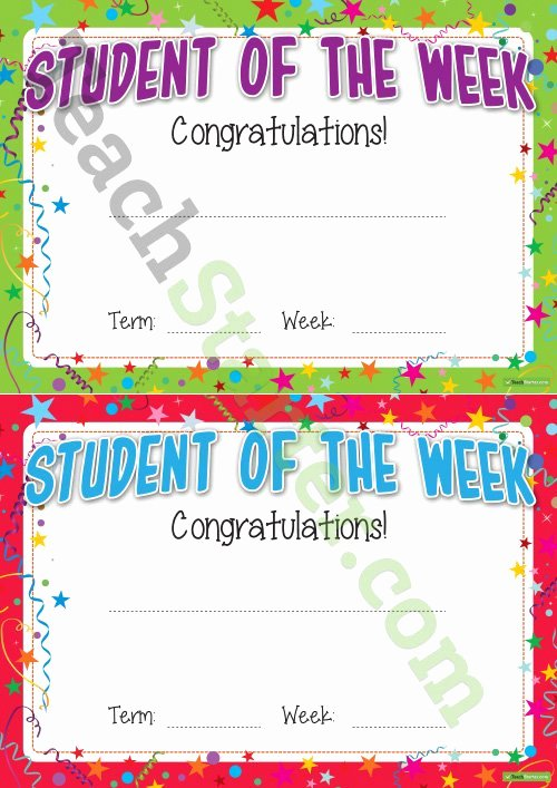 Student Of the Week Certificate Template Beautiful Student Of the Week Certificate