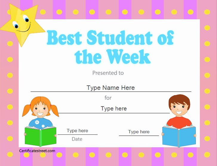 Student Of the Week Certificate Template Luxury Education Certificates Best Student Of the Week