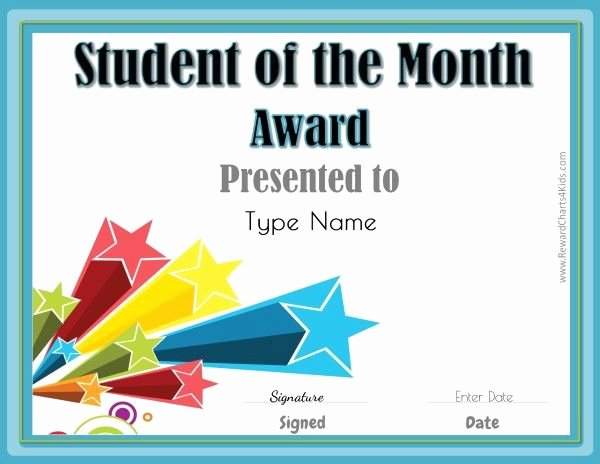 Student Of the Week Certificate Template Luxury Student Of the Month German