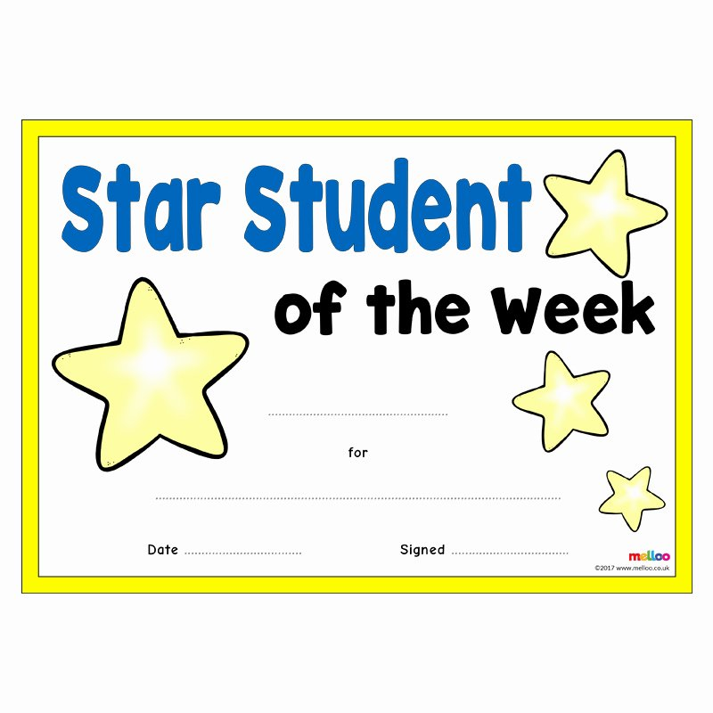Student Of the Week Certificate Template Unique 30 Star the Week Templates