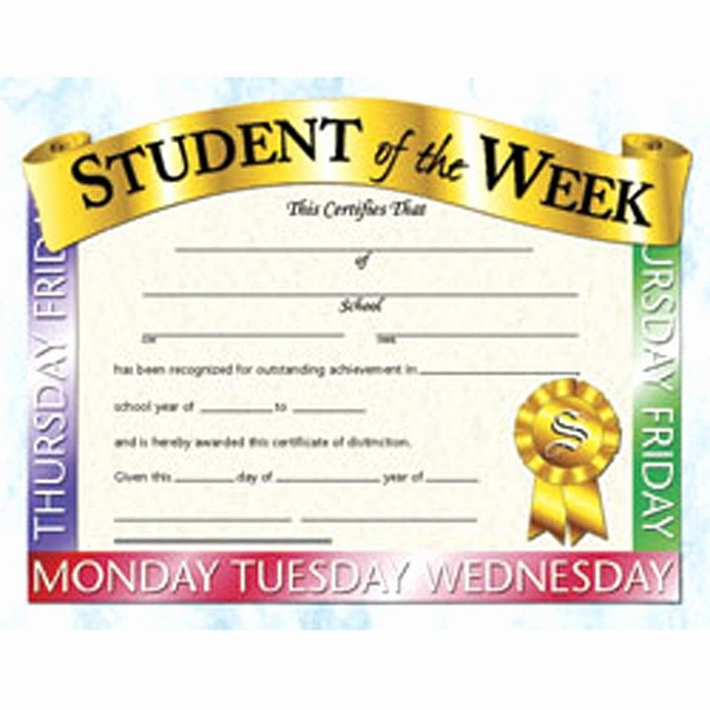 Student Of the Week Certificate Template Unique Student Of the Week 30pk 8 5 X 11 Products