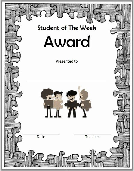 Student Of the Week Template Awesome Student Of the Week Certificate top 10 Super Star