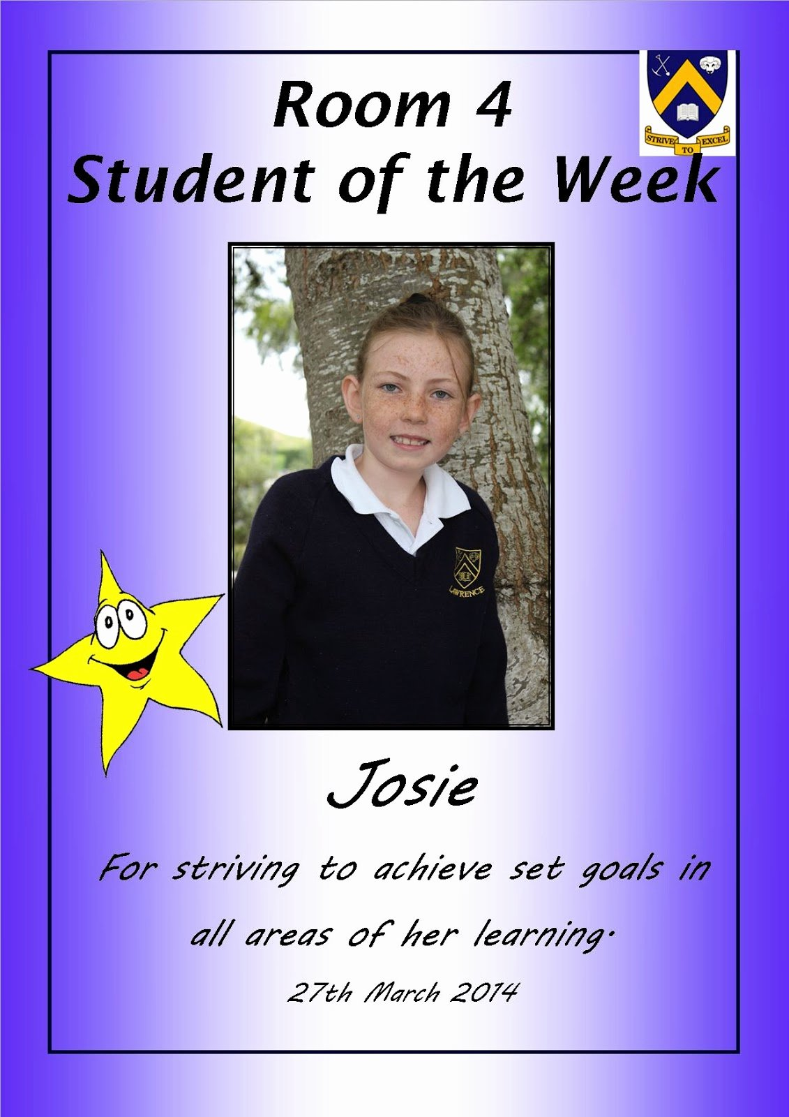 Student Of the Week Template Beautiful Room 4 Lawrence area School Student Of the Week Josie
