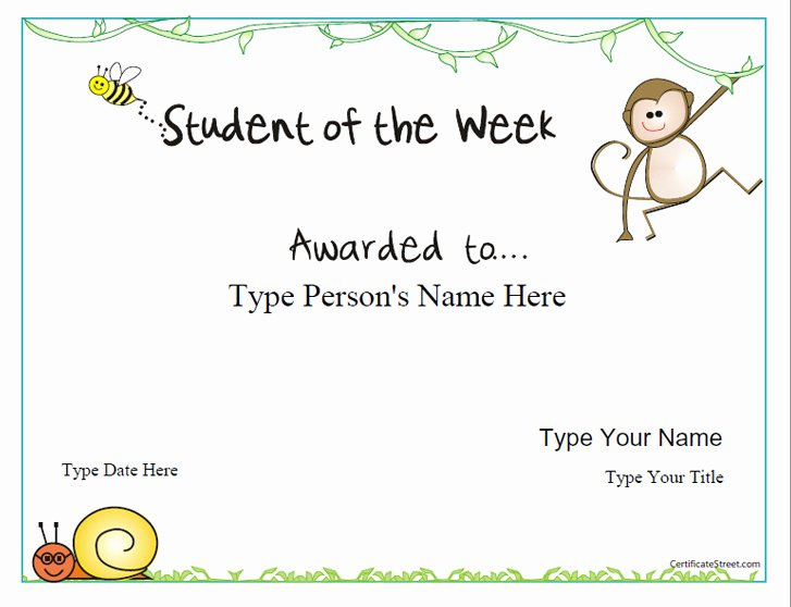 Student Of the Week Template Best Of Certificate Street Free Award Certificate Templates No