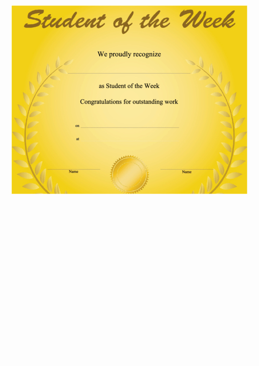Student Of the Week Template Unique top Student the Week Templates Free to In Pdf