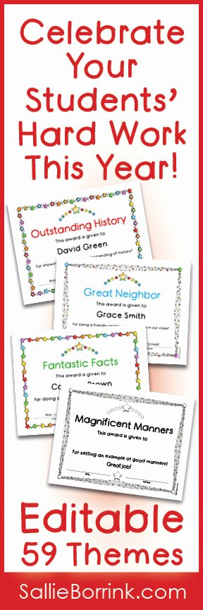 Student Of the Year Certificate Best Of End Of the Year Awards Editable Color and Black White