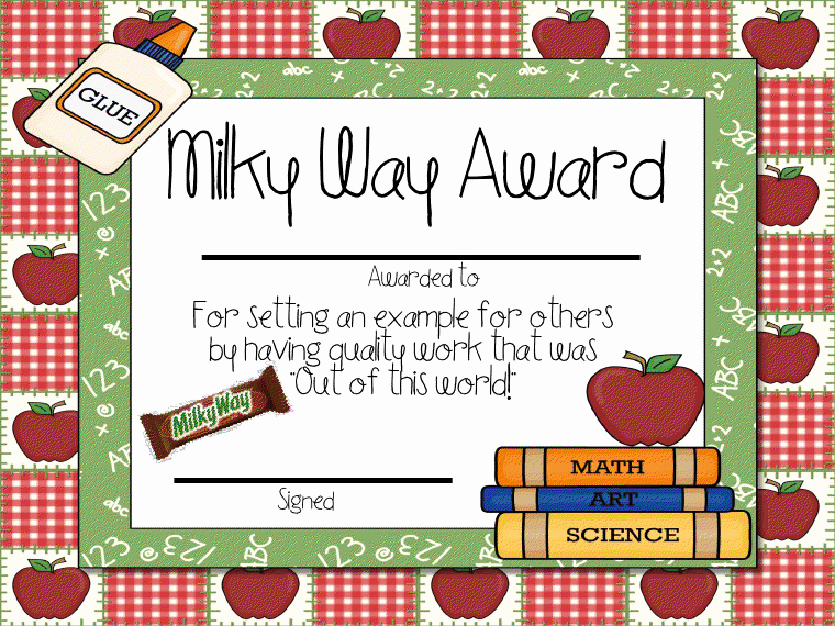 Student Of the Year Certificate Elegant Candy Award Printable Certificates School Stuff