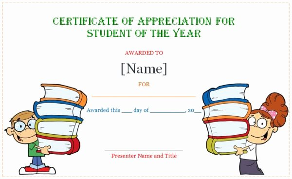Student Of the Year Certificate Fresh Certificate Of Appreciation for Student Of the Year