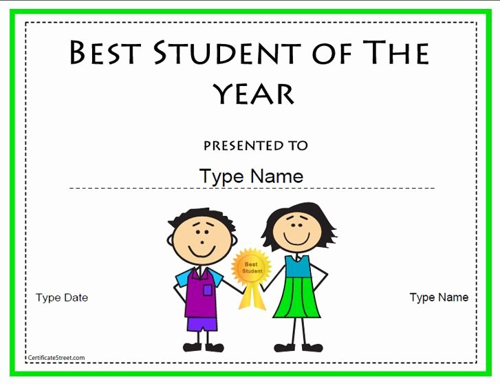 Student Of the Year Certificate Fresh Education Certificate Best Student Of the Year