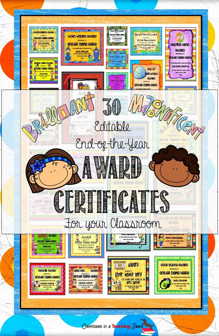 Student Of the Year Certificate Inspirational 10 Best Images About End Of Year Certificates On Pinterest