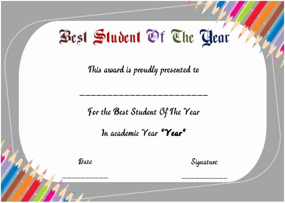 Student Of the Year Certificate Inspirational Best Student Of the Year Award Certificate