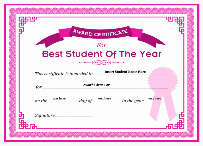 Student Of the Year Certificate Inspirational Student Of the Year Award Certificates