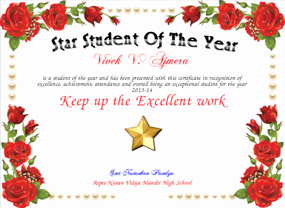 Student Of the Year Certificate Unique Star Student the Year Certificate