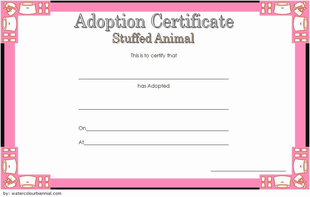 Stuffed Animal Adoption Certificate Template Beautiful 7 Stuffed Animal Adoption Certificate Editable Templates