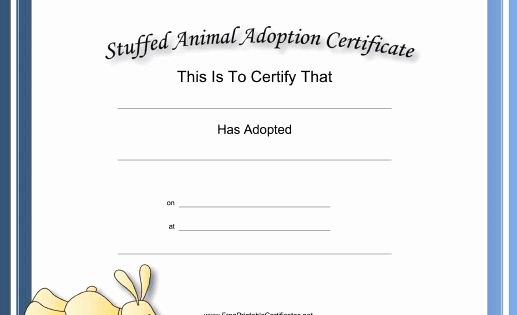 Stuffed Animal Adoption Certificate Template Best Of This Free Printable Stuffed Animal Adoption Certificate