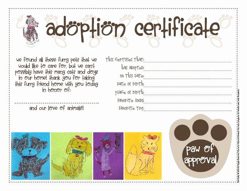 Stuffed Animal Adoption Certificate Template Elegant I Have A Feeling I Ll Be Doing This Next May for My Dog