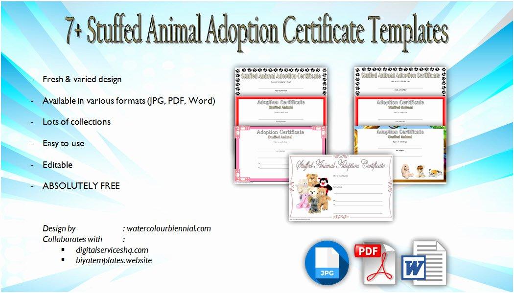 Stuffed Animal Adoption Certificate Template Inspirational 7 Stuffed Animal Adoption Certificate Editable Templates