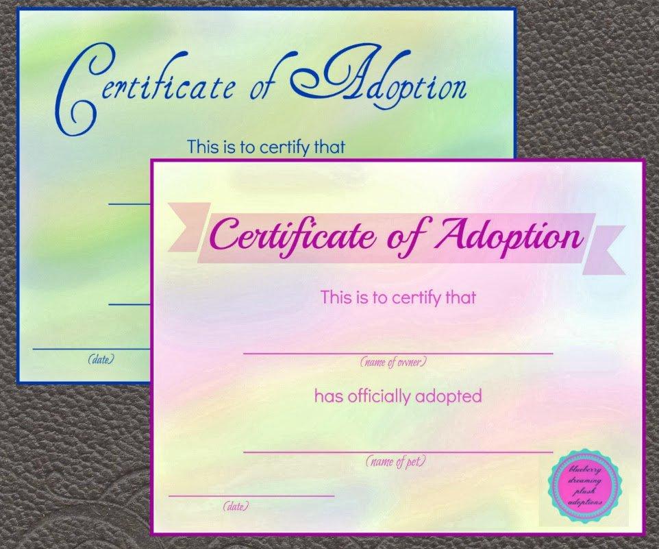 Stuffed Animal Adoption Certificate Template Inspirational Blueberry Dreaming Printable Stuffed Animal Adoption