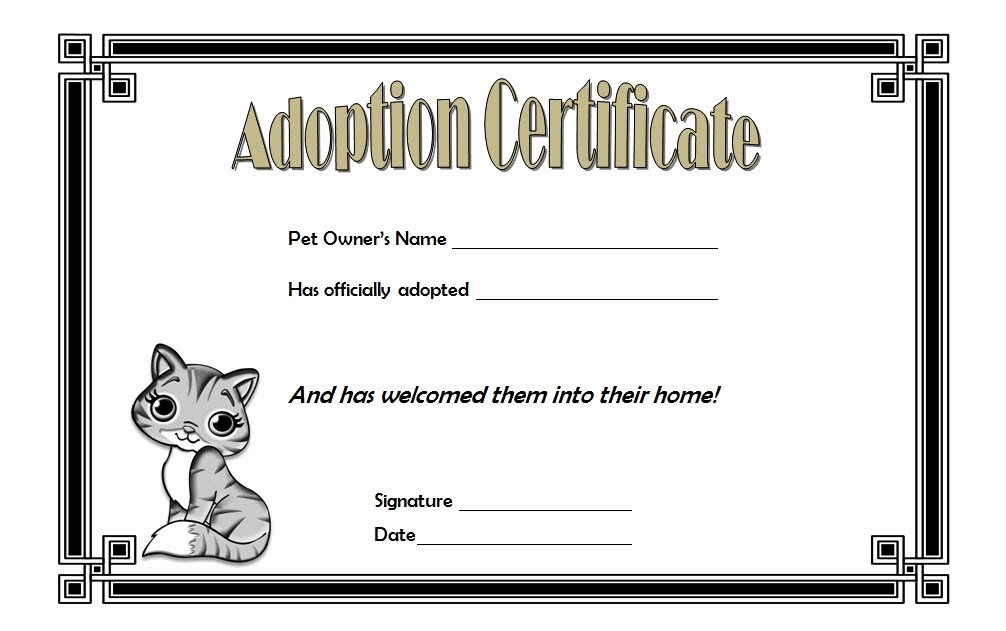 Stuffed Animal Adoption Certificate Template Inspirational Cat Adoption Certificate Templates Free [9 Update Designs