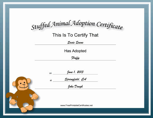 Stuffed Animal Adoption Certificate Template Lovely Adoption Certificate Stuffed Animal Monkey Academic